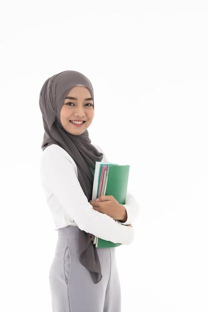 Muslim girl student portrait Premium Photo