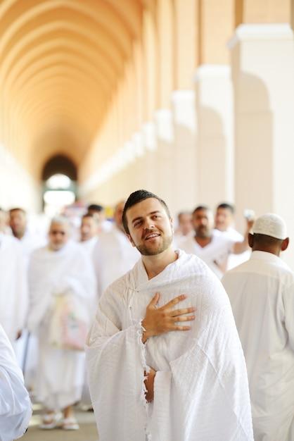 Muslim pilgrim in makkah Premium Photo