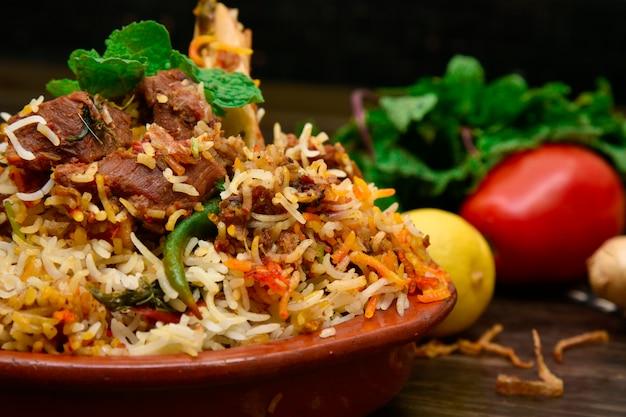 Mutton biryani food photography Premium Photo