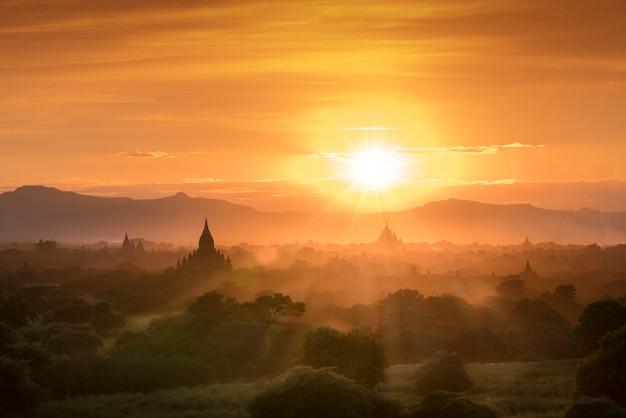 Myanmar bagan historical site on a magical sunset Premium Photo