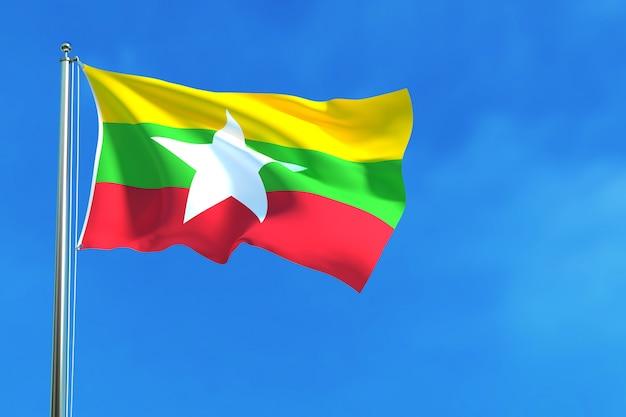 Myanmar (burma) flag on the blue sky background Premium Photo