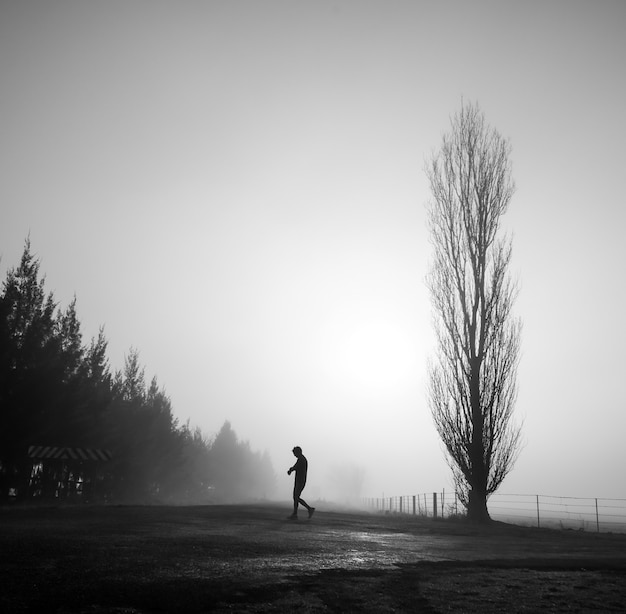 Mysterious greyscale shot of a male walking in a foggy scary field Free Photo
