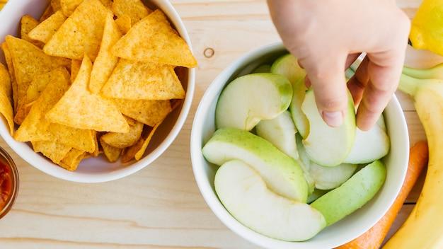 Nachos bowl vs fruit bowl Free Photo