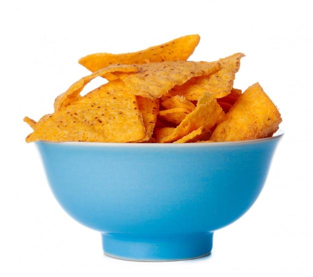 Nachos chips close up on white Premium Photo