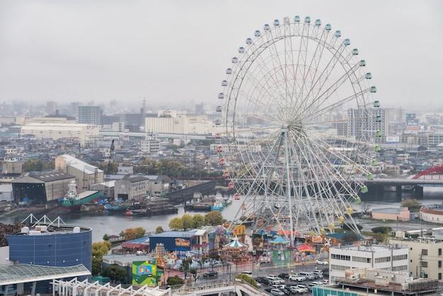 Nagoya port top view with ferris wheel Premium Photo