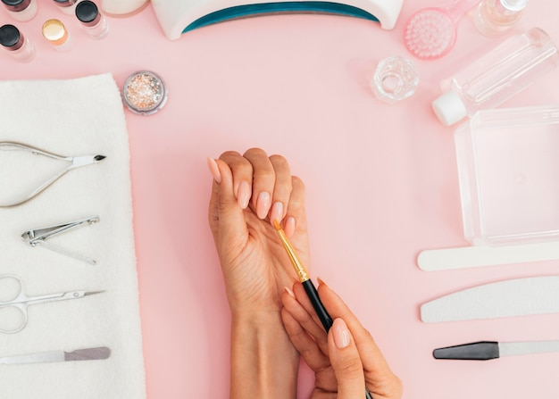 Nail hygiene and care top view Free Photo