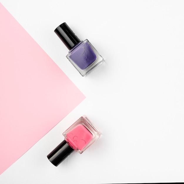 Nail polish set with copy space Free Photo