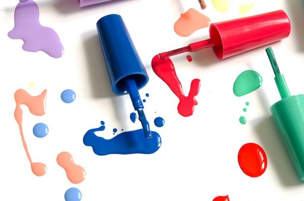 Nail polish splatter on white Premium Photo