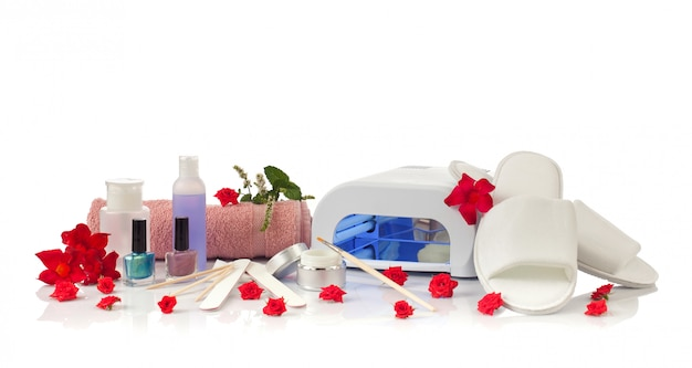 Nail spa manicure and pedicure with equipment Premium Photo