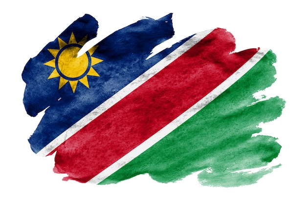 Namibia flag is depicted in liquid watercolor style isolated on white Premium Photo