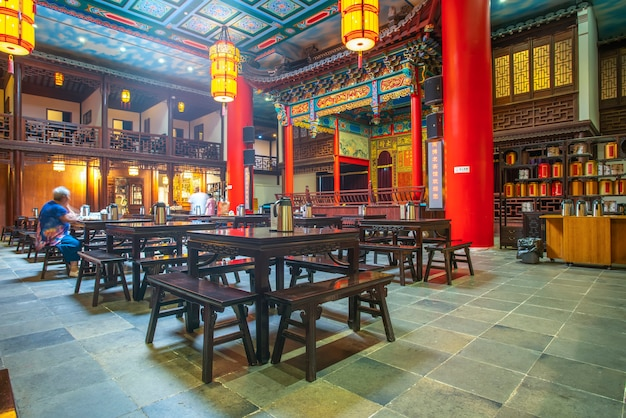 Nanjing, china - july 16, 2018: the traditional architectural night view of nanjing teahouse is wher Premium Photo
