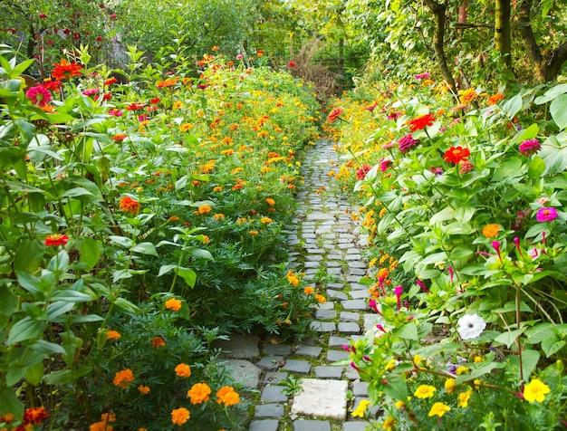 다채로운 꽃으로 둘러싸인 정원의 좁은 통로 무료 사진