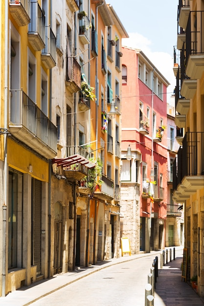 Narrow Street Of European City Girona Free Photo
