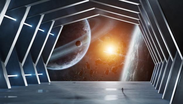 Nasaによって供給されたこのイメージの巨大なホールの宇宙船の内部の要素 Premium写真