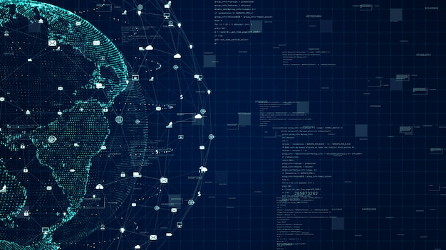 技術ネットワークデータ接続、デジタルデータネットワーク、サイバーセキュリティの概念。 nasaから提供された地球要素。 Premium写真