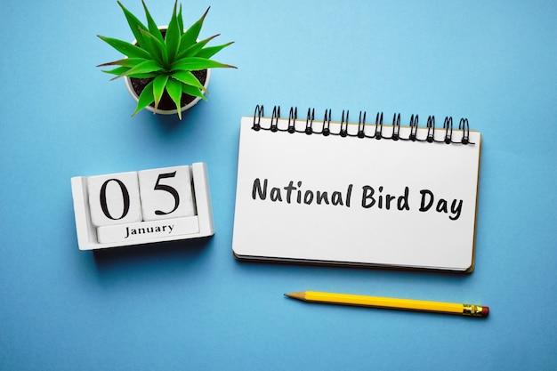 National bird day of winter month calendar january. Premium Photo