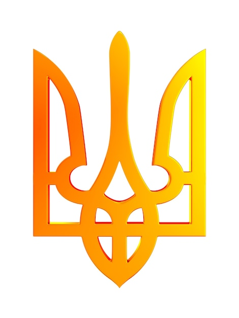 白いスペースに国章ウクライナ。分離された3dイラスト Premium写真