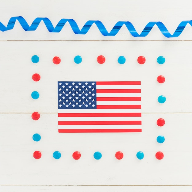 National flag of america in holiday decoration Free Photo