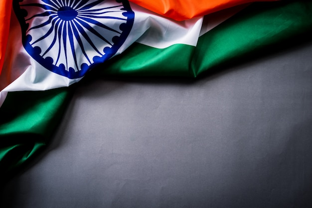 National flag of india on wooden. indian independence day. Premium Photo