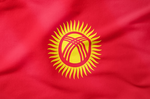 National flag of kyrgyzstan - rectangular shape patriotic symbol Premium Photo