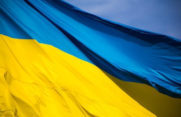 Государственный флаг независимой украины развевается на ветру Premium Фотографии