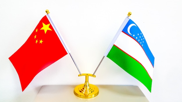 National flag of uzbekistan and peoples republic of china Premium Photo