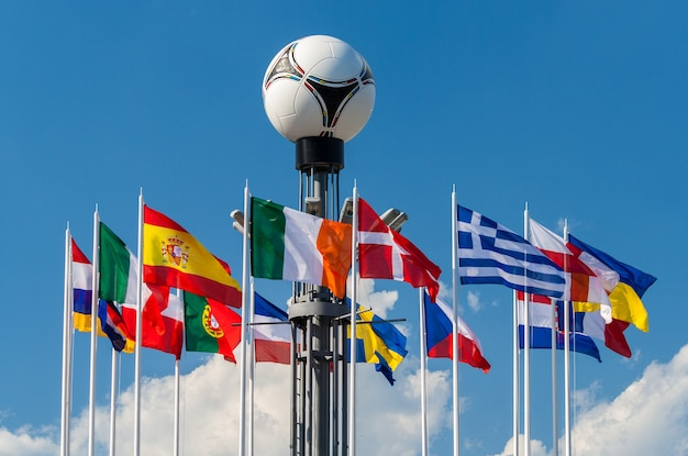 National flags of european countries on the european square in kyiv with football Premium Photo