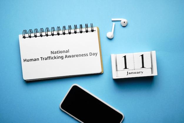 National human trafficking awareness day in winter month calendar january. Premium Photo