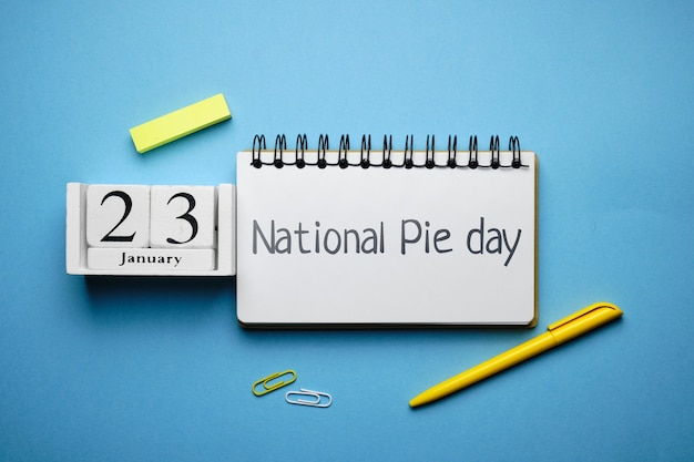 National pie day of winter month calendar january. Premium Photo