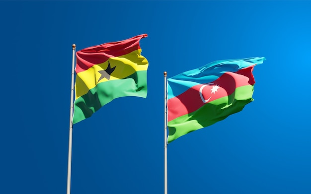National state flags of ghana and azerbaijan Premium Photo