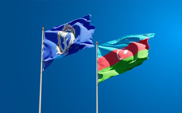 북 마리아나 제도와 아제르바이잔의 국가 국기 프리미엄 사진