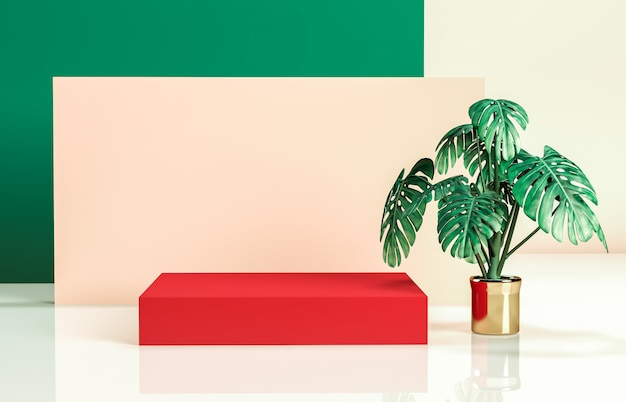 Natural beauty background for cosmetic product display. Premium Photo