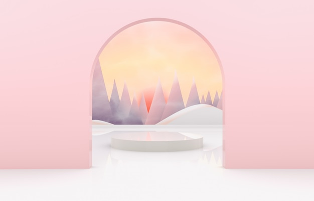 Natural beauty background for product display. 3d natural scene with landscape Premium Photo