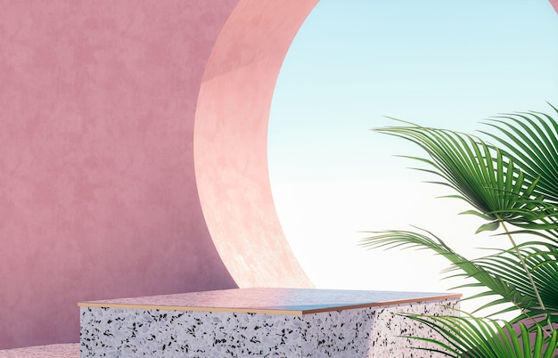 Natural beauty podium for product display with terrazzo Premium Photo