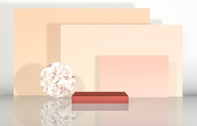 製品展示用の幾何学的形状を備えた自然美の表彰台。抽象的な3 dコンポジションの背景。 Premium写真