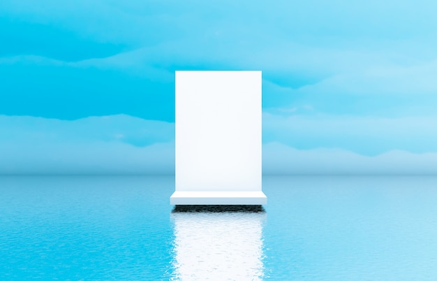 Natural beauty white podium backdrop for cosmetic product display. Premium Photo