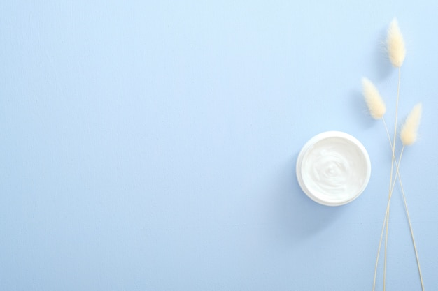 Natural Cosmetic Skincare Moisturizer Cream In Jar And Dry Flowers Over Pastel Blue Background Flat Lay Top View Overhead Skin Care Beauty And Healthcare Concept Premium Photo