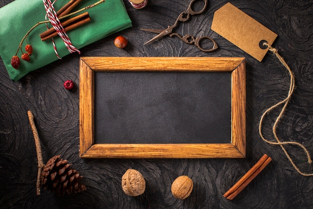 Natural decoration with wooden frame mock-up Free Photo
