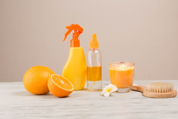Natural elements for spa with oranges Free Photo