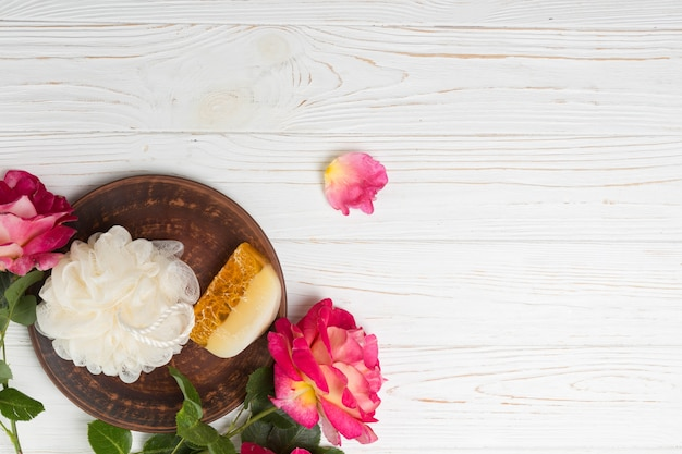 Natural elements for spa with soap Free Photo