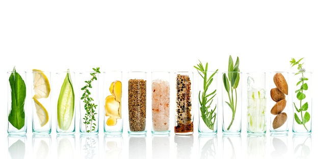Natural herbal skin care ingredients and facial treatment preparation background. Premium Photo