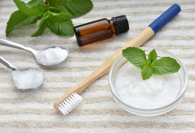 Natural homemade toothpaste, bamboo