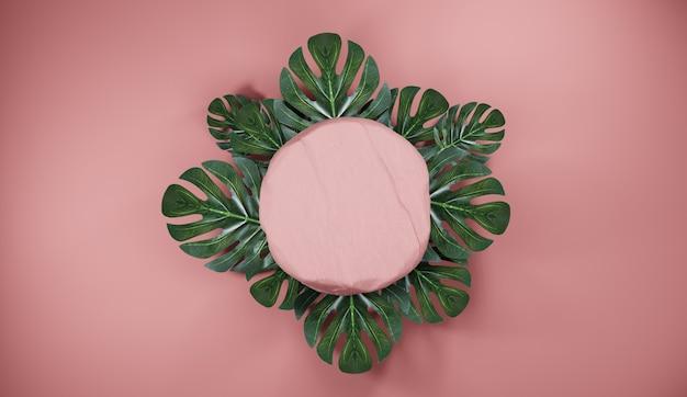 열대 잎 자연 핑크 돌 연단. 제품 디스플레이 배경, 3d 렌더링 프리미엄 사진