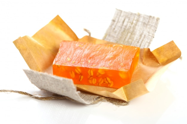 Natural soap with packaging Free Photo