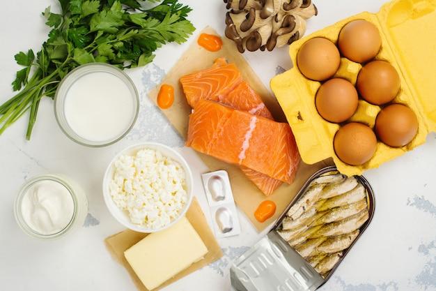 Natural sources of vitamin d and calcium Premium Photo