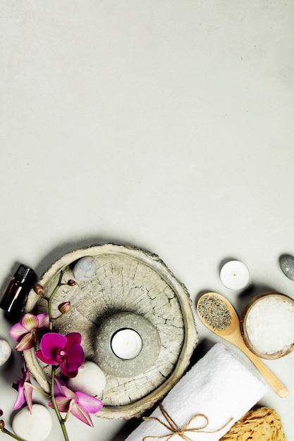 Natural spa concept on grey concrete background, close up Premium Photo