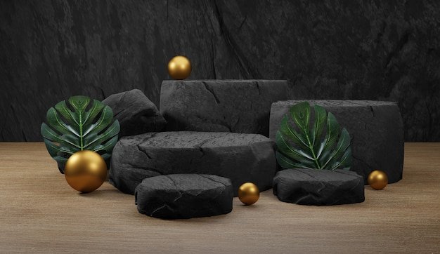 Natural stone podium with tropical leaves. backdrop for product display,  3d rendering Premium Photo