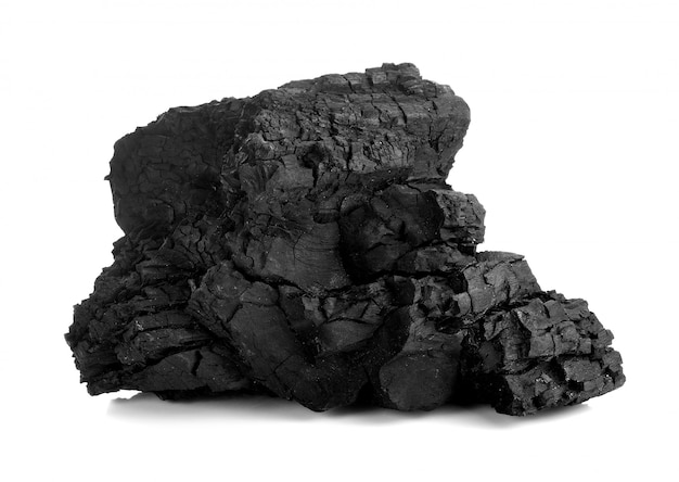 Natural wood charcoal isolated on white, traditional charcoal or hard wood charcoal, isolated on white background Premium Photo