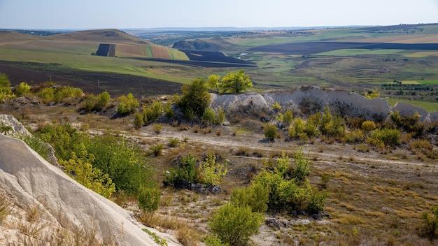 モルドバの性質、茂み、まばらな草、播種された畑のある広い平原 無料写真