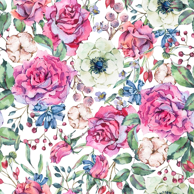 Nature watercolor seamless pattern with rose, anemone, cotton Premium Photo